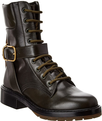 Chloé Diane Buckle Leather Combat Boot