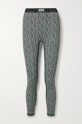 Adam Selman Sport Bonded Velvet-trimmed Floral-print Stretch Leggings - Blue