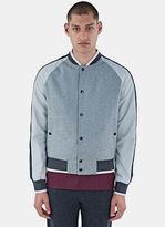 Lanvin Men's Felted Baseball Bomber Jacket In Grey