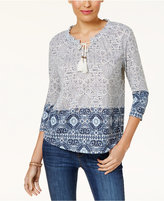 Style&Co. Style & Co Petite Mixed-Print Peasant Top, Created for Macy's