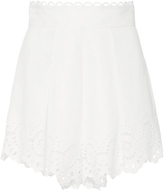 Zimmermann Bellitude Pleated Broderie Anglaise Linen Shorts