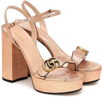 Gucci Double G leather platform sandals