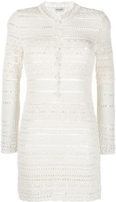 Saint Laurent Long-Sleeve Crochet Mini Dress