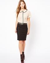 Darling Pencil Skirt With PU Trim