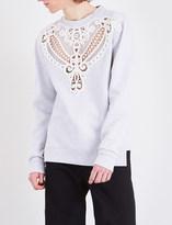 Burberry Macramé lace cutwork jersey sweatshirt