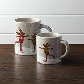 Crate & Barrel Skating Reindeer Mugs