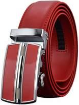 REGITWOW Leather Belts for Men's Ratchet Dress Belt Black Brown with Automatic Buckle