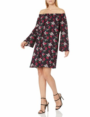 James & Erin Women's Off The Shoulder Printed Shift