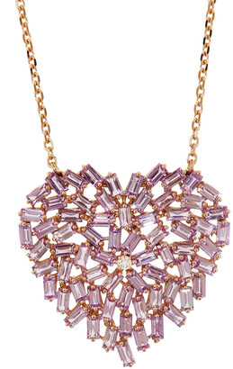 Suzanne Kalan Large Pink Sapphire Heart Necklace - Rose Gold