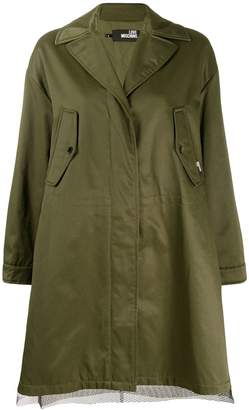 Love Moschino mesh detail parka coat
