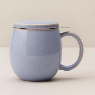 Indigo Cornflower Luster Ceramic Tea Mug With Infuser