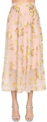 DELPOZO Embroidered Cape Midi Skirt W/ Sequins