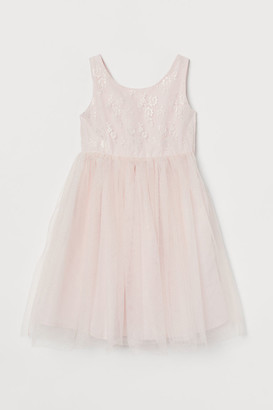 H&M Bow-detail Tulle Dress - Pink