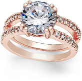 Charter Club Rose Gold-Tone Large Crystal Double Pavé Band Ring, Only at Macy's