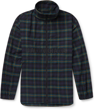 Balenciaga Oversized Logo-Embroidered Checked Cotton-Flannel Track Jacket - Men - Blue