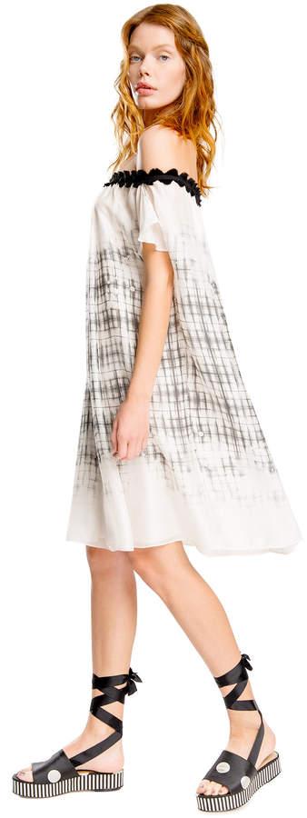 Max Studio off-the-shoulder printed silk mesh chiffon dress