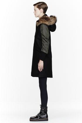 Marni EDITION Black Felt fur-trimmed Coat