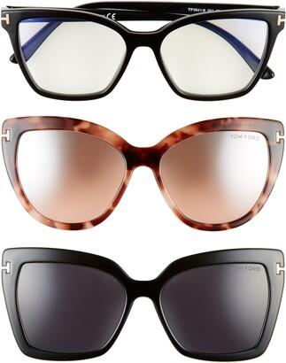 Tom Ford 53mm Blue Light Blocking Cat Eye Glasses & Interchangeable Sunglasses Clips Set