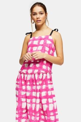 Topshop Womens Petite Pink Check Tie Tiered Drop Waist Midi Dress - Multi Bright