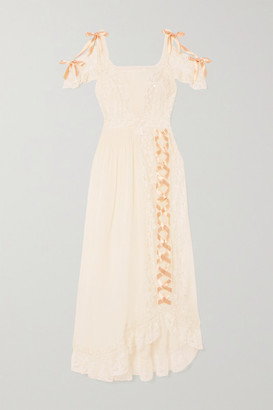 Loretta Caponi Agnes Lace-trimmed Silk-georgette Nightdress - Cream