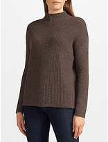 John Lewis Rib Stitch Turtle Neck Jumper, Brown