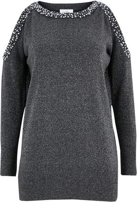 Wallis PETITE Silver Embellished Cold Shoulder Jumper