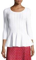 St. John Icacos Peplum 3/4-Sleeve Sweater, Bianco