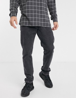 Jack and Jones Intelligence loose fit washed jeans in black