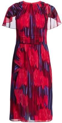 Halston Flutter Short-Sleeve Printed Midi Dress