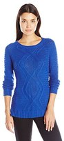 Notations Women's Long Sleeve Crew Neck Mix Stitch Cable Pullover Sweater