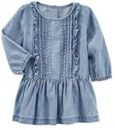 Osh Kosh Size 9M 2-Piece Pleated Chambray Dress and Diaper Cover Set in Blue