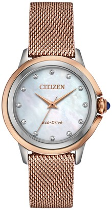 Citizen Eco-Drive Women's Ceci Diamond Accent Rosetone Watch