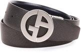 Giorgio Armani Reversible Logo-Buckle Leather Belt, Blue/Black