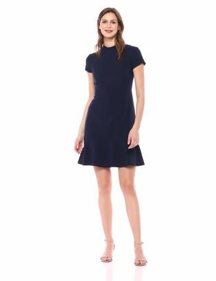 Lark & Ro Women's Short Sleeve Mocke Neck Ruffle Hem Sheath Dress