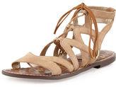 Sam Edelman Gemma Suede Flat Lace-Up Sandal, Black
