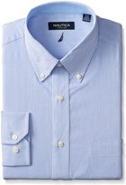 Nautica Men's Long Sleeve Dress Shirt Stripe with Button Down Collar, White/Blue, 17x34/35