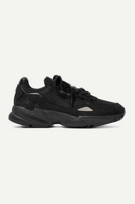 adidas Falcon Leather, Mesh And Nubuck Sneakers - Black