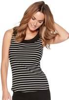 M&Co Stripe crochet trim vest top