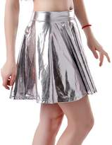 HDE Women's Shiny Liquid Metallic Wet Look Flared Pleated Skater Skirt (