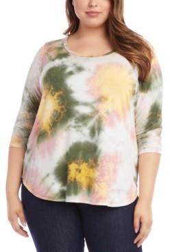 Karen Kane Plus Size Tie-Dyed 3/4-Sleeve Top