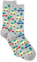 Hot Sox Hot Socks Women's Holiday Trees on Cars Socks