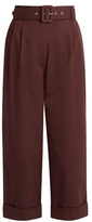 Isa Arfen Safari cotton-blend cropped tapered-leg trousers