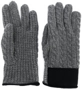 Moncler cable knit logo gloves
