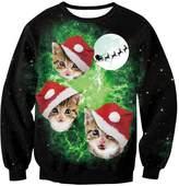 EnlaChic Women'S 3D Ugly Christmas Print Crew Neck Pullover Sweatshirt,Cat,S/M
