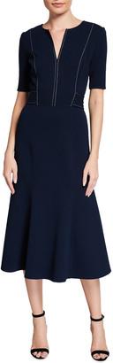 Oscar de la Renta Split-Neck Wool-Blend Midi Dress