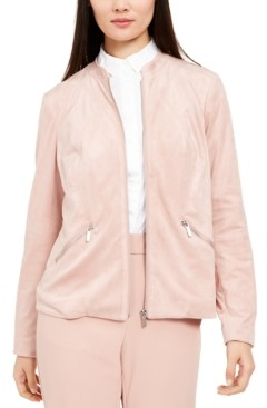 Alfani Petite Faux-Suede Zip-Pocket Jacket, Created for Macy's