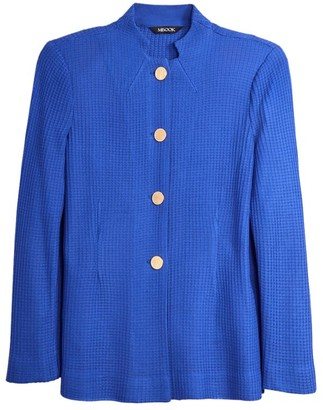 Misook Button-Front Tailored Knit Jacket