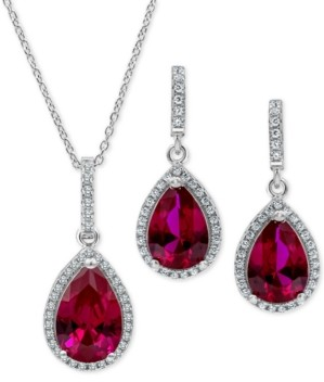 Macy's 2-Pc. Set Lab-Created Sapphire & Cubic Zirconia Pendant Necklace & Drop Earrings Set in Sterling Silver (Also in Lab-Created Emerald, Ruby & Opal)