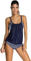 IDEAOLE Womens Stripes Cover Up Swimsuit Summer Beach Wear Tankini with Triangular Briefs