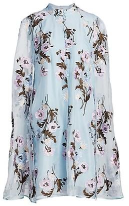 Erdem Caelyn Ellerdale Poppy Embroidered Silk Organza Cape Dress